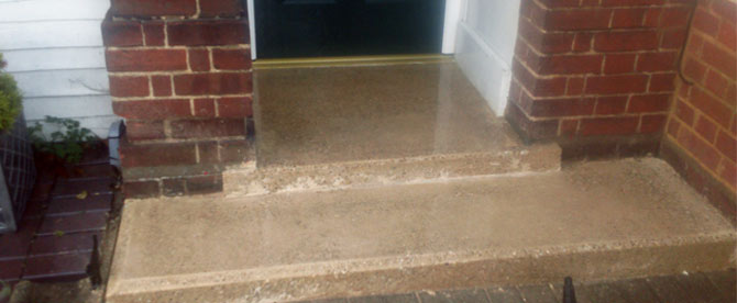 Replaced polished concrete step and walkway